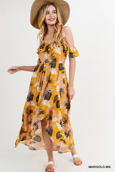 Jodifl Banana Leaf Print Hi Lo Maxi Dress