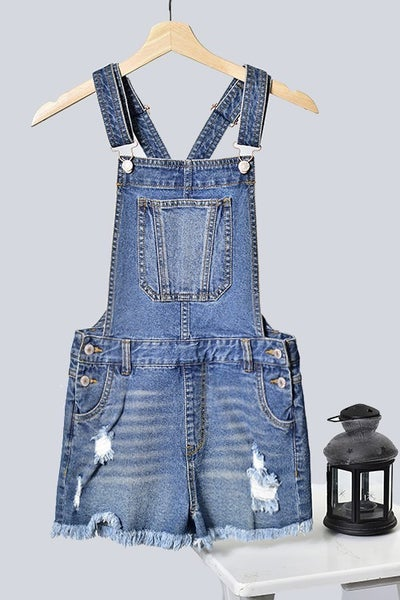 Trend Shop Destroyed Blue Denim Overalls