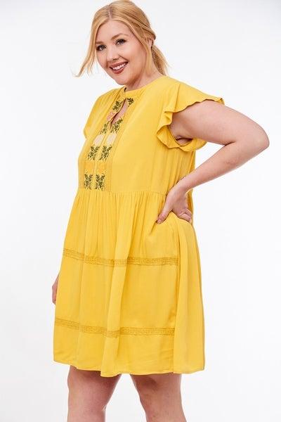 LLove Curvy Honey Mustard Embroidered Dress
