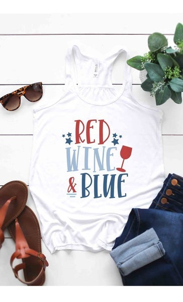 Red Wine and Blue Graphic Tank