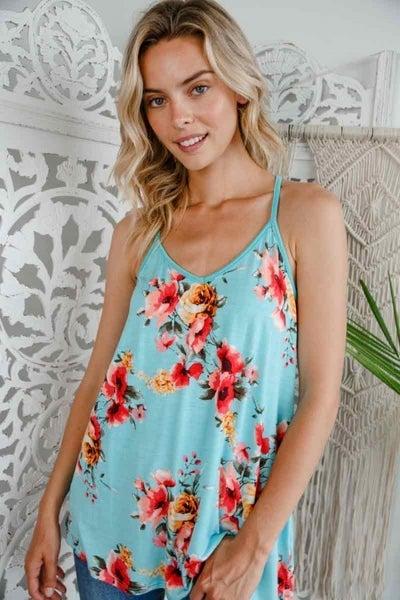 E Luna Aqua Floral Jersey V Neck Tank Top
