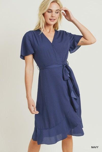 Jodifl Navy Polka Dot Flounce Dress
