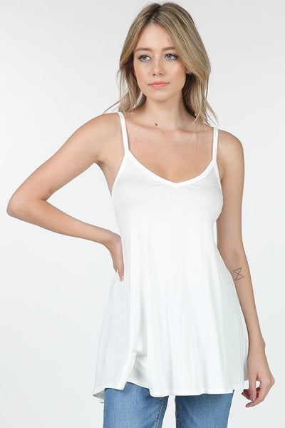 Off White Spaghetti Strap Tank Top