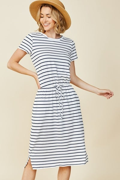 Reborn Black and White Soft Stripe Dress