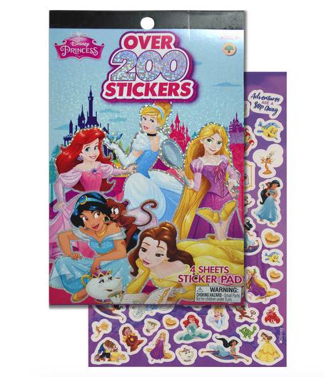 Princess 4 Sheet Foil Sticker Pad