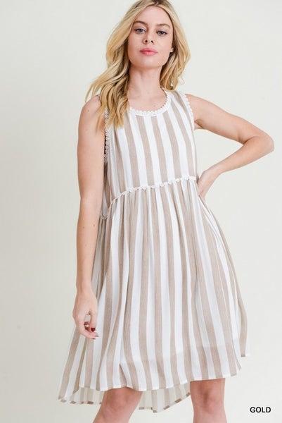 Jodifl Striped Babydoll Lace Trim Dress