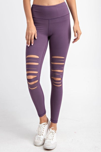 Vintage Violet Full Length Laser Cut Leggings