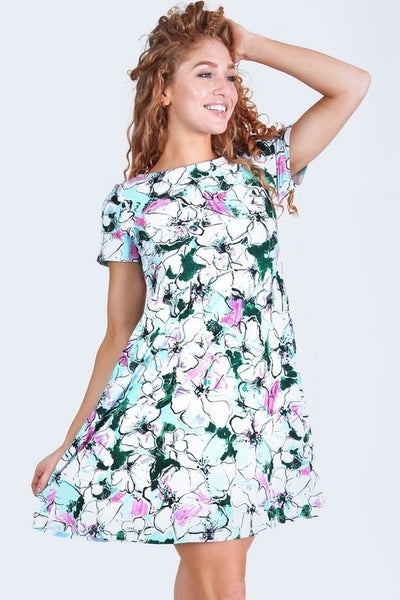 Yelete Aqua Floral Blossom Dress with Pockets
