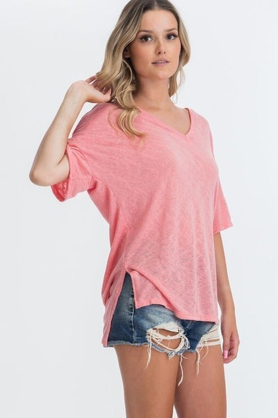 CY Fashion Coral V Neck Side Slit Top