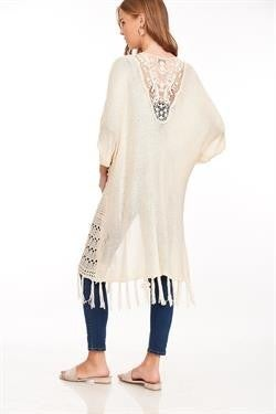 L Love Light Knit Long Body Open Cardigan