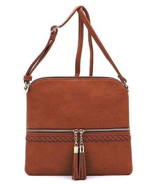 Weaved Whipstitch Tassel Zipper Crossbody Bag