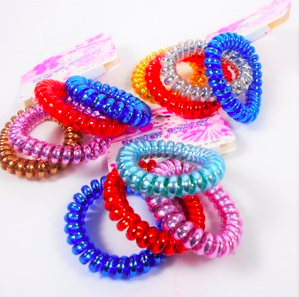4 pack of Trendy Phone Coil Ponytailers/Bracelets
