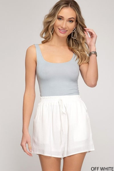 She & Sky Linen Shorts w Elastic Waistband in Off White