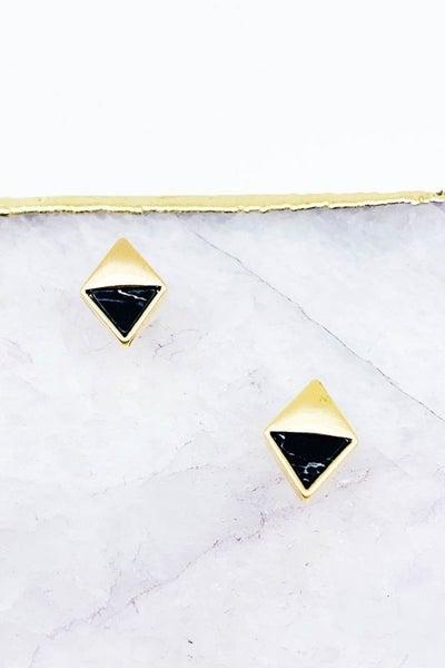 Diamond Shaped Semi Precious Stone Post Earrings