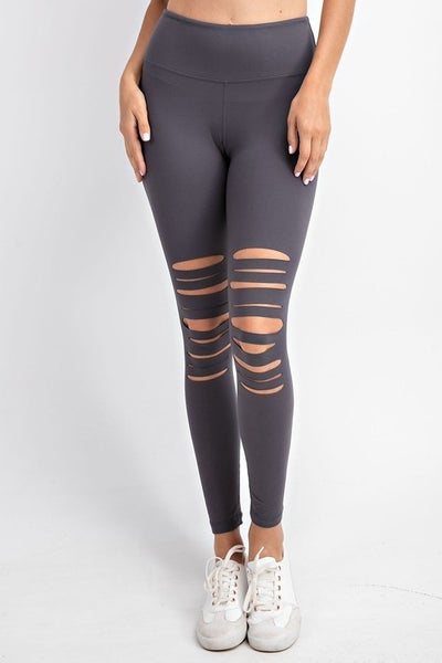 Charcoal Full Length Laser Cut Wide Waist Band Leggings