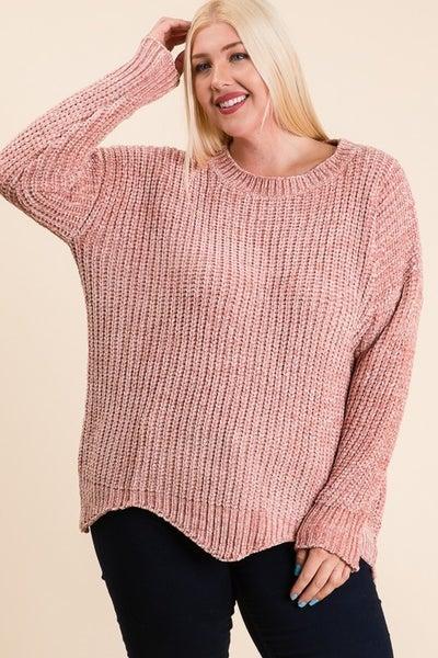 Scalloped  Hem Chenille Sweater Top