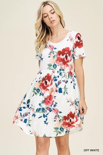 Jodifl Floral Print Dress with Smocked Waistline