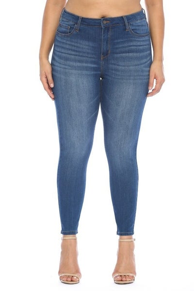 Cello Mid Rise Crop Skinny Curvy Jeans
