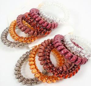 6 pack of Trendy Browntones Phone Coil Ponytailers/Bracelets