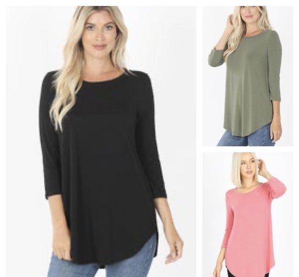 Zenana 3/4 Sleeve Round Neck Top