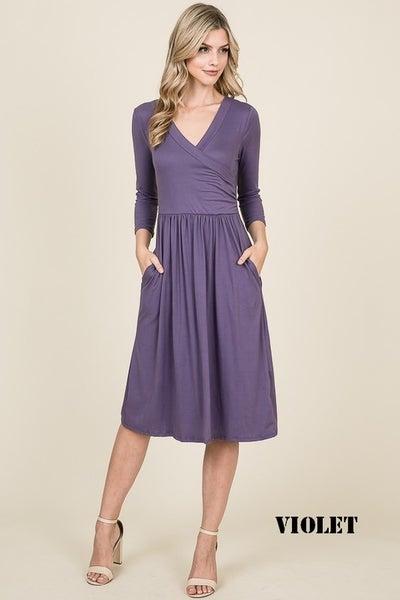 Reborn J Violet Wrap Front Midi Dress