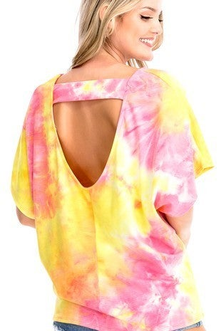 CY Fashion Tie Dye Tunic Open Back Detail Top