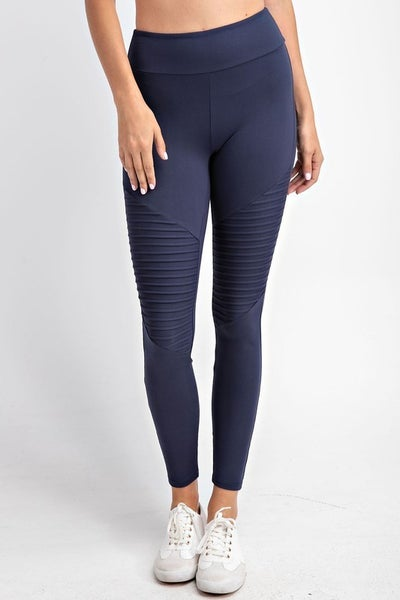 Navy Butter Moto Leggings with Elastic Waist Band