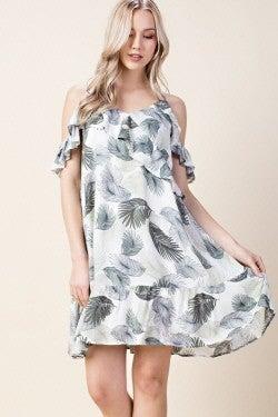 LLove Olive Ruffle Tropical Cami Dress