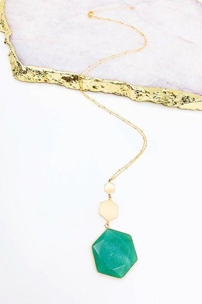 Mint Hexagon Shaped Semi Precious Stone Necklace