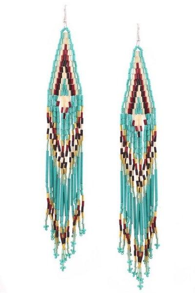 Turquoise Seed Bead Tassel Drop Earrings