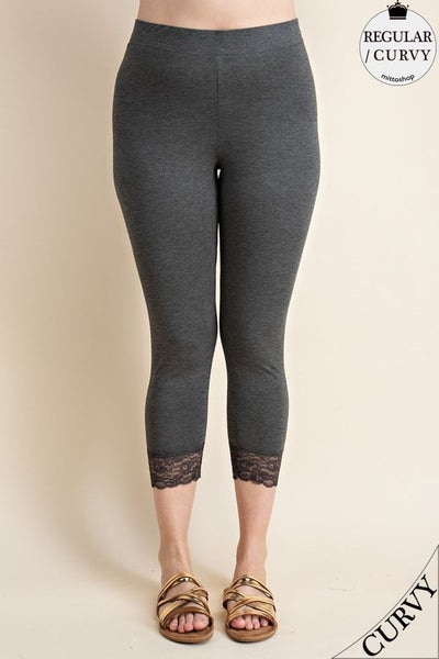 Charcoal Curvy Laced Bottom Leggings