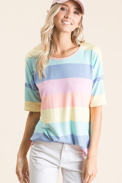 BomBom Casual Multi Color Stripe Top