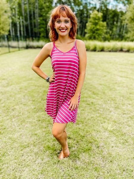 BomBom Mauve Relaxed Fit Sleeveless Stripe Swing Dress