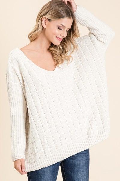 Ivory Oversized Chenille Sweater
