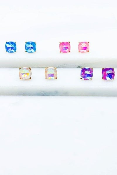 Cushion Cut Glass Post Earrings