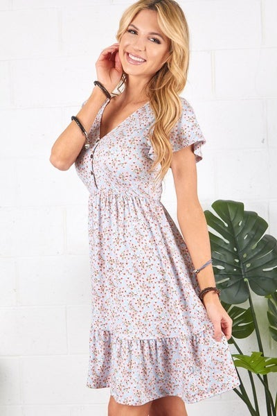 P.S. Kate Denim Blue Dutsy Floral Ruffle Dress