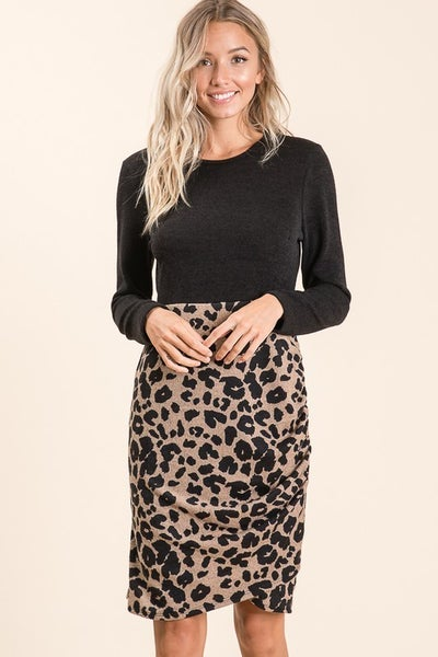 Long Sleeve Animal Color Block Dress