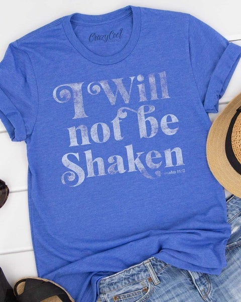 I Will Not Be Shaken Graphic Tee in Heather Royal Blue