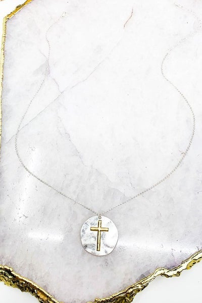 Mixed Metal Cross Medallion Necklace