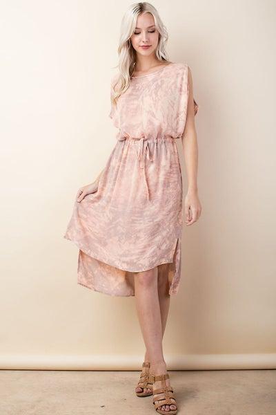 LLove Desert Sand Washed Tie Dye Dress