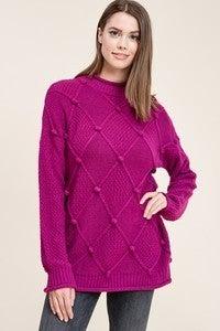 Magenta Crew Neck Sweater with Pom Pom Detail