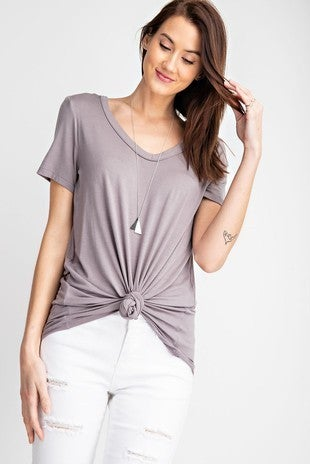 Rae Mode Basic Loose Fit V Neck Top