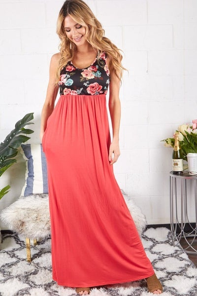 V-Neck Floral and Solid Maxi Dress with Pockets
