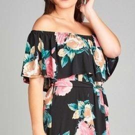 Black Plus Size Floral Off Shoulder Maxi Dress *Final Sale*