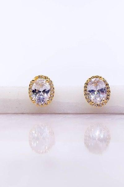 Round CZ Post Earrings