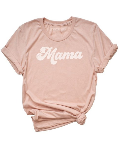 Mama Retro Graphic Tee in Heather Peach