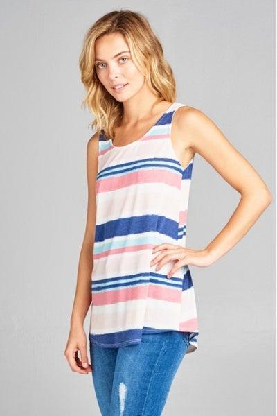 E Luna Pink/Blue Stripe Tank Top