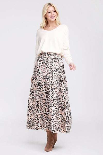Leopard Print Elastic Waist with Layered Shirring Maxi Skirt