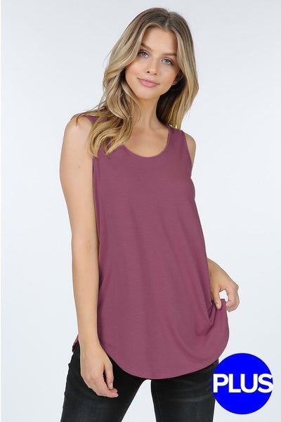 Rose Round Hem Tank Top