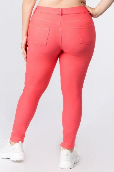 Yelete Cotton Blend Curvy Coral Jeggings